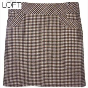 Loft Wool Pink Tan  Plaid Loft Mini Skirt Lined 8